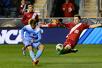 Chester, PA - Friday December 08, 2017: Jack Skahan, Timmy Mehl during an NCAA Men's College Cup semifinal soccer match between the North Carolina Tar Heels and the Indiana Hoosiers at Talen Energy Stadium.