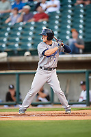 Pensacola Blue Wahoos left fielder Josh VanMeter (3) at bat during a game against the Birmingham Barons on May 8, 2018 at Regions Field in Birmingham, Alabama.  Birmingham defeated Pensacola 5-2.  (Mike Janes/Four Seam Images)
