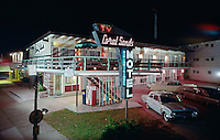 Coral Sands Motel, Wildwood Crest, NJ. Exterior at night with Neon Sign. 1959.