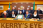 Attending at the Civic Award ceremony for Fr Pat Ahern for his outstanding contribution to the artistic, cultural and literary tradition of the county. Seated l-r, Bill Murphy, Moira Murrell (CEO Kerry Co Council), Fr. Pat Aherne, Cllr: John Sheahan (Cathaoirleach Kerry Co Council) and Cllr: Norma Foley (Mayor of Tralee).<br /> Standing l-r, Fr. Gearoid Walsh,  Fr. Nicolas Flynn (Diocese Secretary), Fr. Sean Hannafin, Fr. Padraig Walsh, Fr. Dan Aherne, Fr. Dan O&rsquo;Riordan and Fr. Linnane.