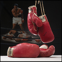 BNPS.co.uk (01202 558833)<br /> Pic: Heritage/BNPS<br /> <br /> The gloves are off...Heavyweight tussle expected for &pound;350,000 gloves.<br /> <br /> For sale - the gloves worn by Ali and Liston in the famous 1965 &ldquo;Phantom Punch&rdquo; bout in Lewiston, Maine. - the most controversial sports event in history <br /> <br /> The gloves have been consigned by Los Angeles collector Seth Ersoff, who acquired the pair from the family of the boxing commissioner for the state of Maine in 1965, who seized the gloves at the bout&rsquo;s scandalous end &ndash; Ali&rsquo;s &ldquo;Phantom Punch&rdquo; &ndash; just under two minutes into the first round.<br /> <br /> Speculation as to whether Liston was made to take a dive by his underworld connections continues to this day, making the fight one of the most controversial in history.<br /> <br /> New York - Heritage - 21st Feb - &pound;350,000