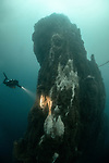 Diving the Strýtan hydrothermal chimney in northern Iceland