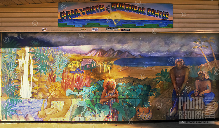 A folk art mural painted on the Pa'ia Youth & Cultural Center, Maui.