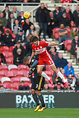 5th November 2017, Riverside Stadium, Middlesbrough, England; EFL Championship football, Middlesbrough versus Sunderland; George Friend of Middlesbrough climbs above Lewis Grabban of Sunderland to win a header in the first half of the 1-0 win