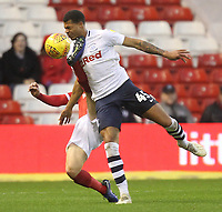 Preston North End's Lukas Nmecha in action with Nottingham Forest's Ben Osborn<br /> <br /> Photographer Mick Walker/CameraSport<br /> <br /> The EFL Sky Bet Championship - Nottingham Forest v Preston North End - Saturday 8th December 2018 - The City Ground - Nottingham<br /> <br /> World Copyright © 2018 CameraSport. All rights reserved. 43 Linden Ave. Countesthorpe. Leicester. England. LE8 5PG - Tel: +44 (0) 116 277 4147 - admin@camerasport.com - www.camerasport.com