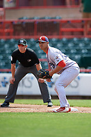 Reading Fightin Phils first baseman Harold Martinez (38) during a game against the Erie SeaWolves on May 18, 2017 at UPMC Park in Erie, Pennsylvania.  Reading defeated Erie 8-3.  (Mike Janes/Four Seam Images)
