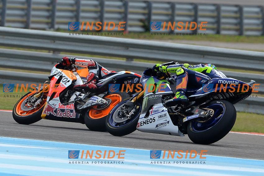 Termas De Rio Hondo (Argentina) 03/04/2016 - gara Moto GP / foto Luca Gambuti/Image Sport/Insidefoto<br />nella foto: Marc Marquez-Valentino Rossi