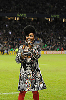Misha B from the X Factor entertains fans during half time of the Aviva Premiership match between Harlequins and Saracens at Twickenham on Tuesday 27 December 2011 (Photo by Rob Munro)