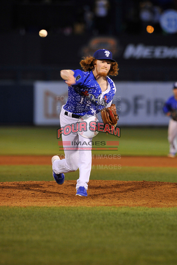 Tulsa Drillers starting pitchers Dustin May (12) throws a pitch against the Corpus Christi Hooks at Oneok Stadium on May 4, 2019 in Tulsa, Oklahoma.  The Hooks won 9-7.  (Dennis Hubbard/Four Seam Images)