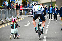Picture by SWpix.com - 04/05/2018 - Cycling - 2018 Tour de Yorkshire - Stage 2: Barnsley to Ilkley - Yorkshire, England - Team Sky's Ian Stannard heads to sign on with a young cyclist.