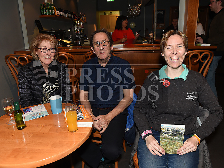 Patricia, John and Nessa Delaney at the launch of Ciarán Hodgers book Cosmocartography in The Droichead Arts Centre. Photo:Colin Bell/pressphotos.ie