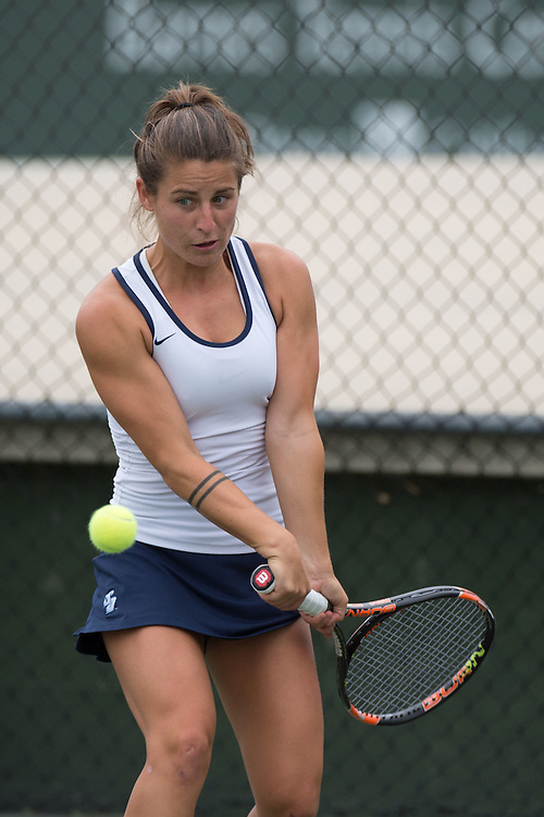 April 22, 2015; San Diego, CA, USA; San Diego Toreros tennis player Dana Oppinger during the WCC Tennis Championships at Barnes Tennis Center.