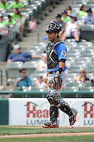 Akron RubberDucks catcher Alex Lavisky (13) during game against the Trenton Thunder at ARM & HAMMER Park on July 14, 2014 in Trenton, NJ.  Akron defeated Trenton 5-2.  (Tomasso DeRosa/Four Seam Images)