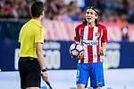 Filipe Luis of Atletico de Madrid argues with the assistant referee during their La Liga match between Atletico de Madrid vs Real Sociedad at the Vicente Calderon Stadium on 04 April 2017 in Madrid, Spain. Photo by Diego Gonzalez Souto / Power Sport Images