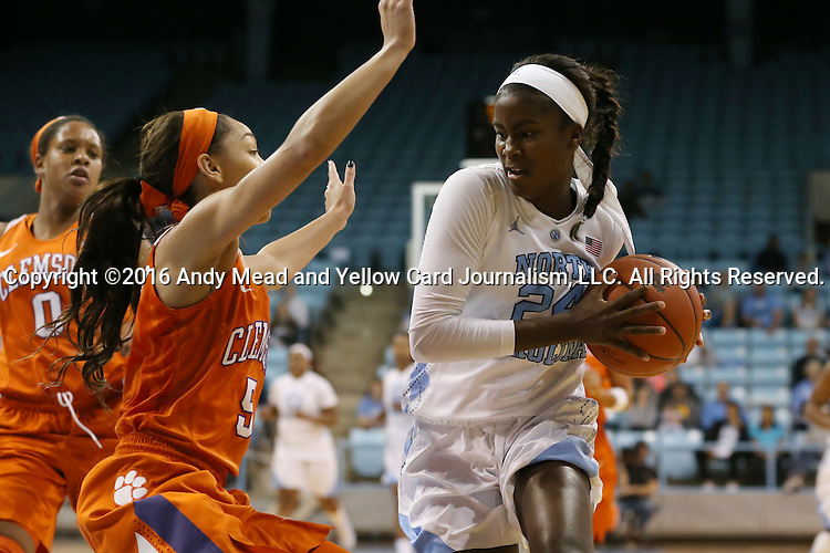 03 January 2016: North Carolina's Destinee Walker (24) and Clemson's Danielle Edwards (5). The University of North Carolina Tar Heels hosted the Clemson University Tigers at Carmichael Arena in Chapel Hill, North Carolina in a 2015-16 NCAA Division I Women's Basketball game. UNC won the game 72-56.