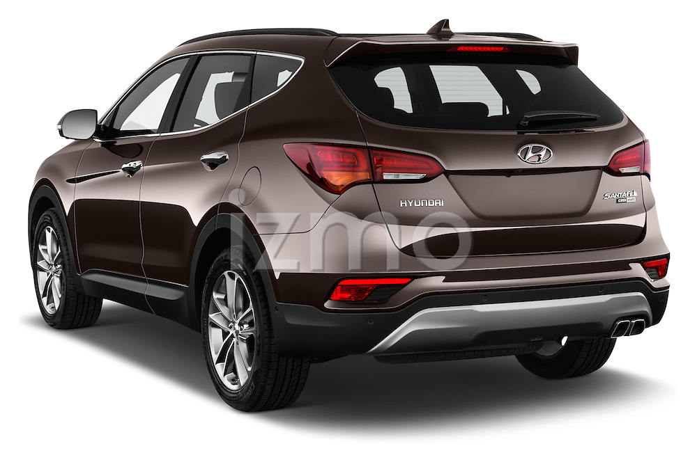 Car pictures of rear three quarter view of 2016 Hyundai Santa-Fe Executive 5 Door Suv Angular Rear