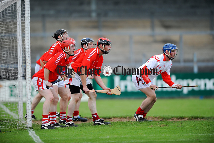 The Crusheen Defence at the senior championship game at Cusack park Park. Photograph by John Kelly.