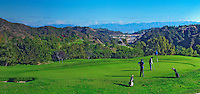 Beautiful  Golf Course, Golfers Putting, Mountaingate, Brentwood, CA, Panorama