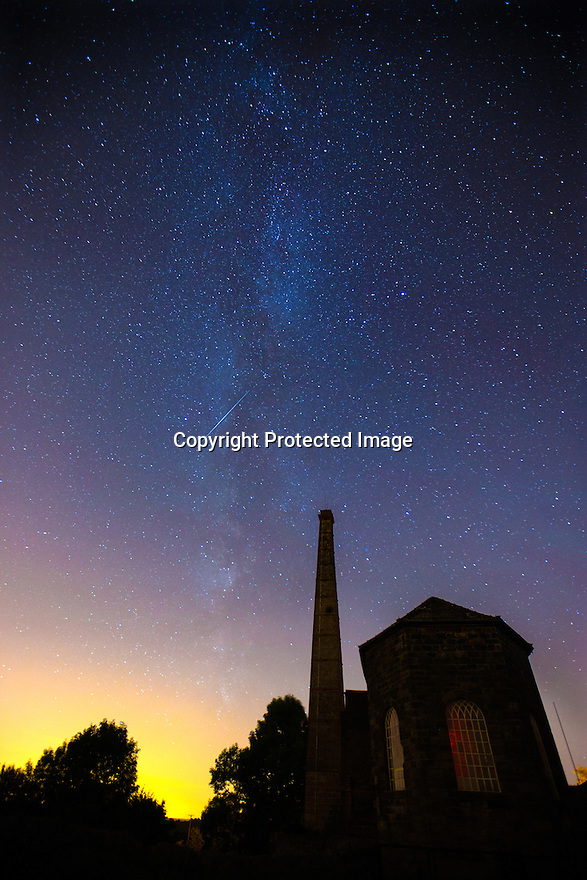 11/08/15<br /> <br /> In the early hours of Tuesday morning, a shooting star streaks across the Milky Way high above Middleton Top, the last surviving winding engine from the long-closed Cromford and High Peak Railway, near Wirksworth in the Derbyshire Peak District.  Many shooting stars can be seen in the night sky for the next few nights as the Perseids meteor shower treats us with its annual spectacle.<br /> All Rights Reserved: F Stop Press Ltd. +44(0)1335 418629   www.fstoppress.com.