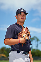 GCL Yankees East pitcher Edgar Barclay (28) poses for a photo before a Gulf Coast League game against the GCL Phillies West on August 3, 2019 at the Carpenter Complex in Clearwater, Florida.  The GCL Yankees East defeated the GCL Phillies West 4-0, the second game of a doubleheader.  (Mike Janes/Four Seam Images)
