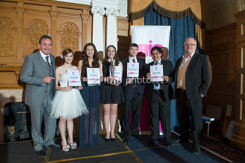 Aroma Blossom from Tapton School, this year winners of the Big Challenge. L-R David Grey MBE (Group Managing Director OSL Group) Alexandra Webb, Lucy Zhang,  Sophie Cheetham, Gregory Williams, Hamza Javed and Richard May (Partner DLA Piper Solicitors)