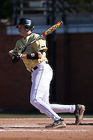 Ian Tompkins (32) of the Wake Forest Demon Deacons follows through on his swing versus the Clemson Tigers during the second game of a double header at Gene Hooks Stadium in Winston-Salem, NC, Sunday, March 9, 2008.