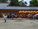 People line up to collect a commemorative Shuin hand written stamp at Hikawa Shrine on May 1st, 2019 in Saitama, Japan. Crowds waited for over 2 hours to collect the special stamps dated with the first day of the new Reiwa Era. (Photo by Mark Eite/AFLO)