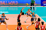 Koyomi Tominaga of Japan (C) serves the ball during the FIVB Volleyball Nations League Hong Kong match between Japan and Argentina on May 31, 2018 in Hong Kong, Hong Kong. Photo by Marcio Rodrigo Machado / Power Sport Images