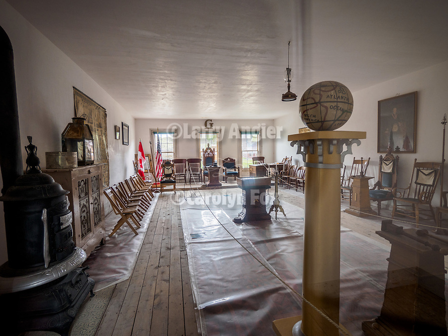 Interior of the Masonic Hall, ghost town of Bannock, Montana, first territorial capital of the region