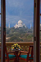 Agra, India.  Taj Mahal from Oberoi Presidential Suite.