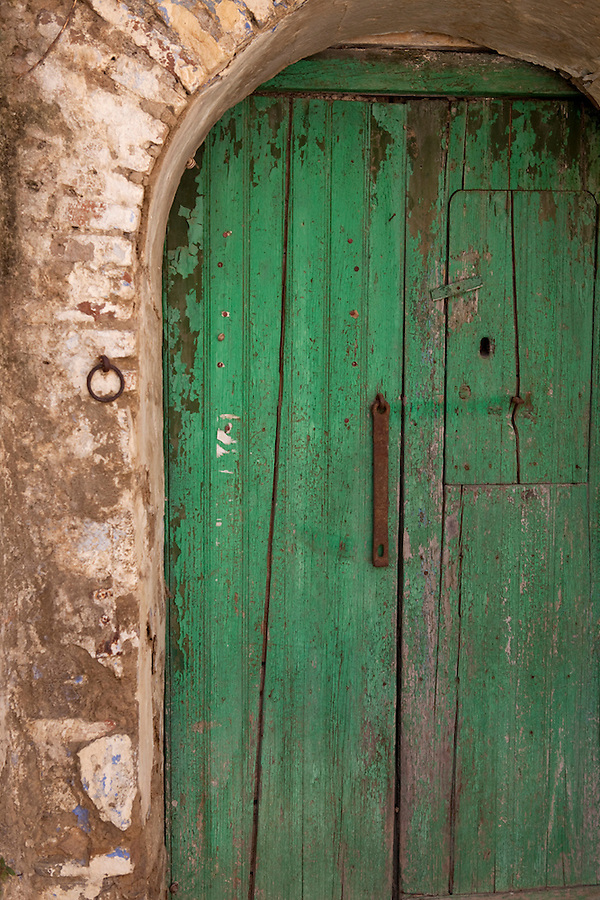 Green doors in Basilicata, ITALY