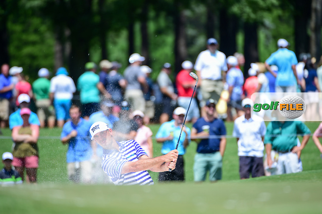 Billy Horschel (USA) hits from the trap on 4 during Thursday's round 1 of the PGA Championship at the Quail Hollow Club in Charlotte, North Carolina. 8/10/2017.<br /> Picture: Golffile | Ken Murray<br /> <br /> <br /> All photo usage must carry mandatory copyright credit (&copy; Golffile | Ken Murray)