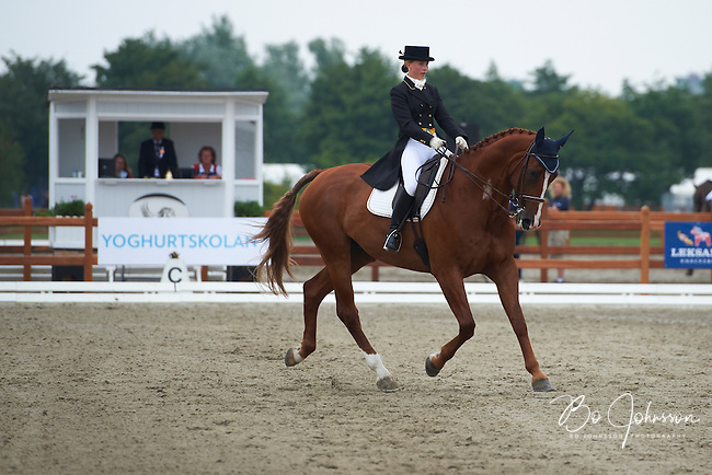 Elin Goransdotter (SWE) riding Ambition during the dressage test at Malmo City Horse Show FEI World Cup Eventing Qualifier CIC***. <br /> The couple was with 56,06 % placed 37th after Friday's dressage.<br /> Eventing in Ribersborg, Malmo, Sweden.<br /> August 2011.<br /> Only for editorial use.
