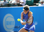 June 17th 2017, Nottingham, England; WTA Aegon Nottingham Open Tennis Tournament day 6;  Donna Vekic of Croatia plays a backhand drive in her semi final match against Lucie Safarova of Czech Republic