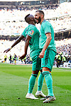 Vinicius Junior (L) and Karim Benzema of Real Madrid celebrate goal during La Liga match between Real Madrid and RCD Espanyol at Santiago Bernabeu Stadium in Madrid, Spain. December 07, 2019. (ALTERPHOTOS/A. Perez Meca)