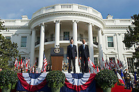 United States President Barack Obama (R) and Canadian Prime Justin Trudeau stand for their national anthems during an arrival ceremony on the South Lawn of the White House, in  Washington, D.C. on March 10, 2016. Photo Credit: Kevin Dietsch/CNP/AdMedia