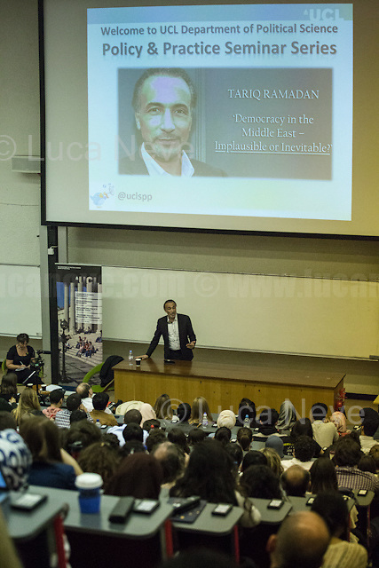 London, 11/05/2017. Today, the UCL (University College London) presented a public lecture &ndash; organised by the Department of Political Science - called &quot;Democracy in the Middle East - Implausible or Inevitable?&quot; hosted by Dr Tariq Ramadan (Swiss academic, philosopher and writer; he is the professor of Contemporary Islamic Studies in the Faculty of Oriental Studies at St Antony's College, Oxford, and also teaches at the Oxford Faculty of Theology; he is a visiting professor at the Faculty of Islamic Studies in Qatar, the Universit&eacute; Mundiapolis in Morocco and several other universities around world; he is the director of the Research Centre of Islamic Legislation and Ethics, CILE, based in Doha; He is a member of the UK Foreign Office Advisory Group on Freedom of Religion or Belief; he is President of the think tank European Muslim Network, EMN, in Brussels. He was elected by Time magazine in 2000 as one of the seven religious innovators of the 21st century and in 2004 as one of the 100 most influential people in the world. He is author of numerous books, the latest is called &quot;Islam: The Essentials&quot;). Chair of the event was Dr Melanie Garson (Teaching Fellow/Lecturer, International Security &amp; Conflict Resolution at UCL and Former Associate at Freshfields Bruckhaus Deringer). From the event online page: &lt;&lt; Dr Tariq Ramadan will be giving a lecture at UCL on the current political developments in the Middle East, covering the relationship between the West and Islam, the consequences of past interventions, the prevalence of authoritarianism in the Middle East, discussing the possibilities of the future for the Muslim societies, and ultimately, attempting to answer the question whether the process of democratisation in the Middle East is implausible or inevitable [&hellip;]&gt;&gt;.<br />