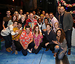 "Matt Allen with cast members during the Actors' Equity Gypsy Robe Ceremony  honoring Matt Allen for ""Escape To Margaritaville"" at The Marquis Theatre on March 15, 2018 in New York City."