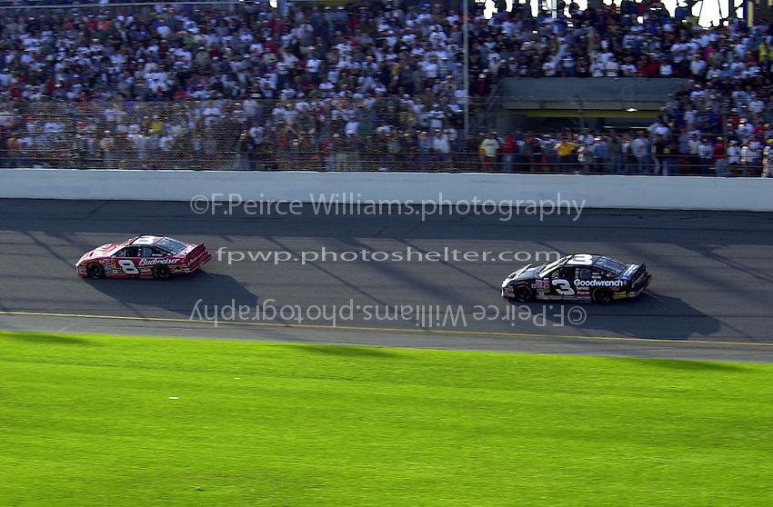 Dale Earnhardt, Jr. (8) leads father Dale Earnhardt, Sr. during the closing laps..Daytona 500  18 Feb.2001  Daytona International Speedway  Daytona Beach, Florida, USA.Copyright©F.Peirce Williams 2001..F. Peirce Williams .photography.P.O.Box 455 Eaton, OH 45320.p: 317.358.7326  e: fpwp@mac.com.