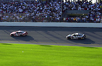 Dale Earnhardt, Jr. (8) leads father Dale Earnhardt, Sr. during the closing laps..Daytona 500  18 Feb.2001  Daytona International Speedway  Daytona Beach, Florida, USA.Copyright©F.Peirce Williams 2001..F. Peirce Williams .photography.P.O.Box 455 Eaton, OH 45320.p: 317.358.7326  e: fpwp@mac.com.
