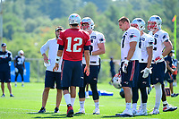 July 28, 2017: New England Patriots quarterback Tom Brady (12) talks to the offensive line at the New England Patriots training camp held at Gillette Stadium, in Foxborough, Massachusetts. Eric Canha/CSM