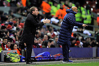 21.02.2013 Liverpool, England.  Brendan Rogers Manager of Liverpool and Luciano Spalleti Manager of Zenit St Petersburg  during the Europa League game between Liverpool and Zenit St Petersburg from Anfield.