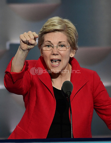 United States Senator Elizabeth Warren (Democrat of Massachusetts) makes remarks at the 2016 Democratic National Convention at the Wells Fargo Center in Philadelphia, Pennsylvania on Monday, July 25, 2016.<br /> Credit: Ron Sachs / CNP/MediaPunch<br /> (RESTRICTION: NO New York or New Jersey Newspapers or newspapers within a 75 mile radius of New York City)