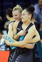 02.08.2017 Silver Ferns Katrina Grant (L) and Whitney Souness (R) after a netball match between the Silver Ferns and South Africa at the Brisbane Entertainment Centre in Brisbane Australia. Mandatory Photo Credit ©Michael Bradley.