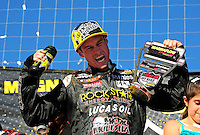 Apr 17, 2011; Surprise, AZ USA; LOORRS driver Brian Deegan celebrates after winning round 4 at Speedworld Off Road Park. Mandatory Credit: Mark J. Rebilas-