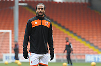 Blackpool's Nathan Delfouneso during the pre-match warm-up <br /> <br /> Photographer Kevin Barnes/CameraSport<br /> <br /> The EFL Sky Bet League One - Blackpool v Oxford United - Saturday 23rd February 2019 - Bloomfield Road - Blackpool<br /> <br /> World Copyright © 2019 CameraSport. All rights reserved. 43 Linden Ave. Countesthorpe. Leicester. England. LE8 5PG - Tel: +44 (0) 116 277 4147 - admin@camerasport.com - www.camerasport.com