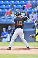 Delmarva Shorebirds second baseman Adam Hall (10) awaits a pitch during a game against the Asheville Tourists at McCormick Field on May 3, 2019 in Asheville, North Carolina. The Shorebirds defeated the Tourists 6-5. (Tony Farlow/Four Seam Images)