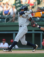 Infielder Angelo Gumbs (21) of the Charleston RiverDogs, a New York Yankees affiliate, in a game against the Greenville Drive on May 31, 2012, at Fluor Field at the West End in Greenville, South Carolina. Charleston won, 13-2. Gumbs is the Yankees' No. 14 prospect, according to Baseball America. (Tom Priddy/Four Seam Images).