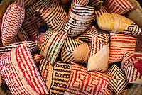 Decorated straw containers from Oaxaca, Mexico, in the Museo de Arte Popular of Museum of Popular Art in Mexico City.