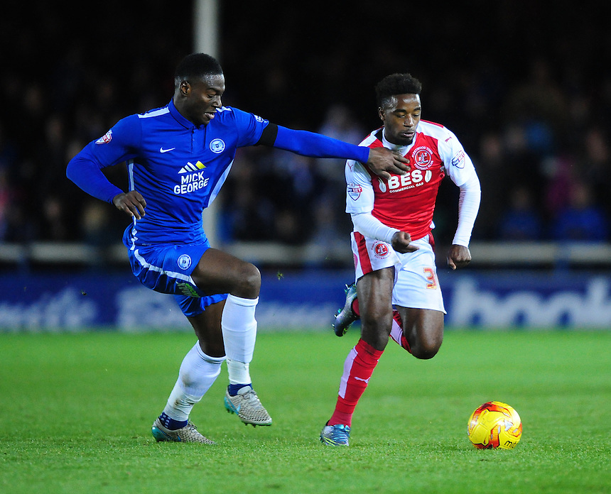 Fleetwood Town&rsquo;s Tariqe Fosu vies for possession with Peterborough United's Ricardo Santos<br /> <br /> Photographer Chris Vaughan/CameraSport<br /> <br /> Football - The Football League Sky Bet League One - Peterborough United v Fleetwood Town - Saturday 14th November 2015 - ABAX Stadium - Peterborough<br /> <br /> &copy; CameraSport - 43 Linden Ave. Countesthorpe. Leicester. England. LE8 5PG - Tel: +44 (0) 116 277 4147 - admin@camerasport.com - www.camerasport.com
